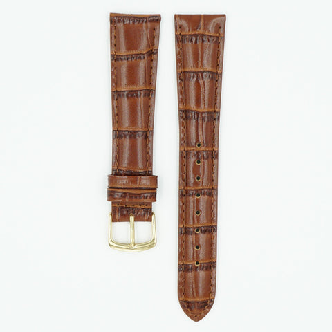 Alligator Grain Chestnut Long Leather Watch Band
