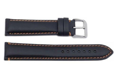 Hadley Roma Orange Contrasting Stitching Leather Watch Strap
