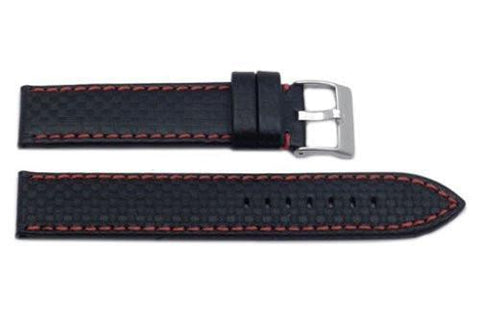 Hadley Roma Carbon Fiber Style Red Contrast Stitching Watch Strap