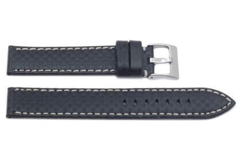 Hadley Roma Carbon Fiber Style White Contrast Stitching Watch Strap