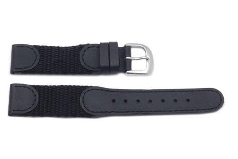Hadley Roma Swiss Army Style Black Leather and Nylon Long Watch Strap