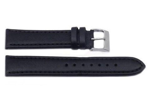 Hadley Roma Black Smooth Sport Leather Watch Band