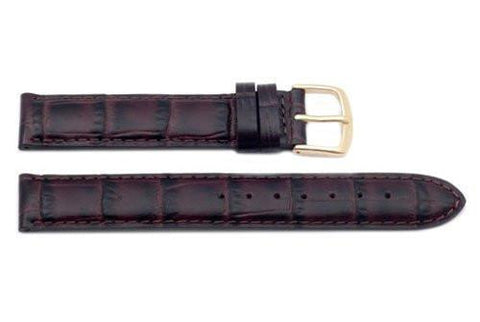 Hadley Roma Alligator Grain Brown Italian Calfskin Long Watch Band