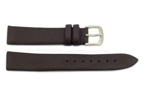 Hadley Roma Genuine Dark Brown Lambskin Soft Leather Watch Strap