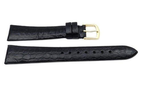 Hadley Roma Genuine Black Water Snake Semi-Gloss Watch Strap