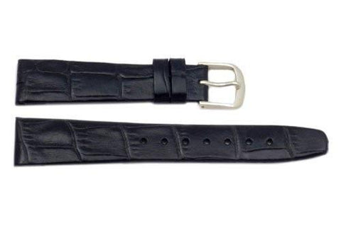 Hadley Roma Black Alligator Grain Leather Watch Band