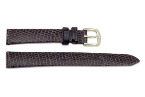 Hadley Roma Genuine Brown Lizard Flat Elegant Short Watch Strap