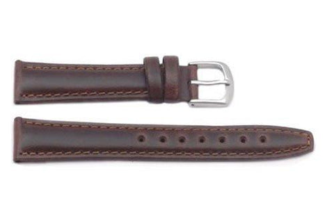 Hadley Roma Light Padded Brown Oil-Tan Leather Long Watch Strap