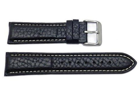 Genuine Black Leather Textured Padded Watch Strap