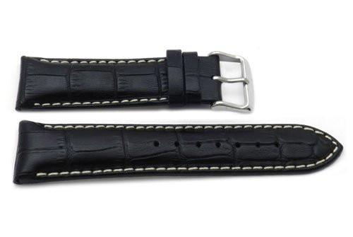 Genuine Alligator Grain Heavy Padded White Stitching Watch Strap