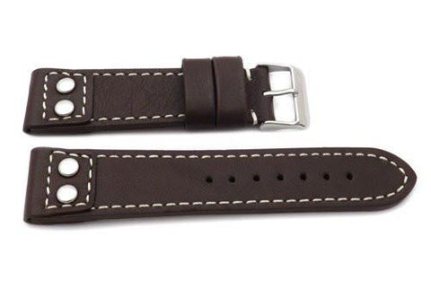 Genuine Leather Pilot Style Heavy Padded White Contrast Stitching Watch Band