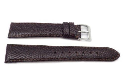 Genuine Lizard Grain Textured Semi-Padded Watch Band