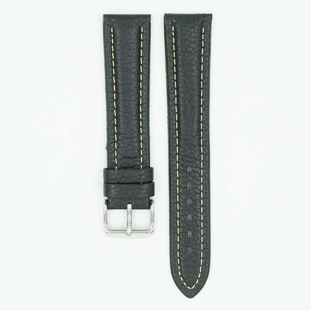 Leather Padded Black Long Watch Strap