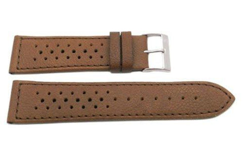 Genuine Calfskin Leather Rally Style Racing Sport Watch Band