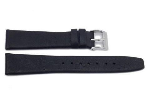 Genuine Leather Black Smooth Movado Style Watch Band