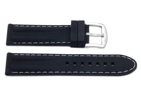 Genuine Silicone Double Hump Contrast Stitching Sport Watch Band