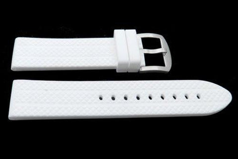 Genuine White Silicone Heavy Duty Diamond Style Sport Watch Strap