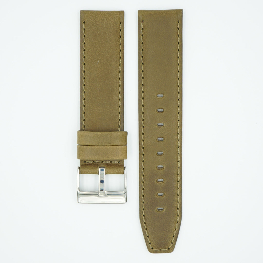 Horween Distressed Olive Leather Watch Strap