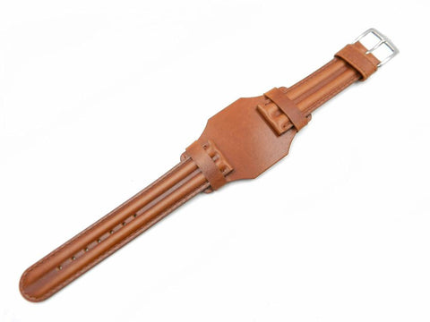 Genuine Wenger Men's Cuff 20mm Brown Leather Band