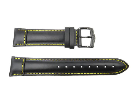 Wenger 21mm Black Watch Strap with Yellow Stitching