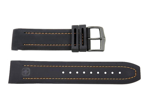 Wenger 22mm Black Rubbber Band Curved End Orange Stitched Watch Strap