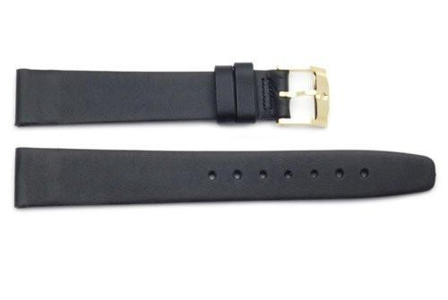 Genuine Movado Black Smooth Leather 16mm Watch Band