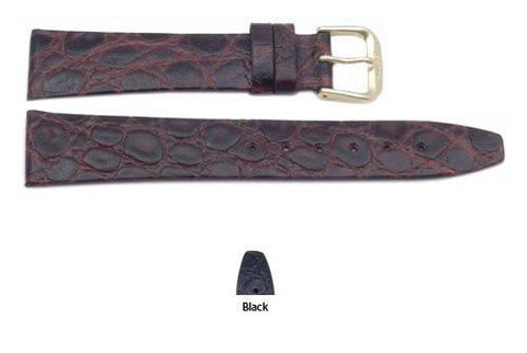 Pico Crocodile Grain Textured Leather Watch Strap