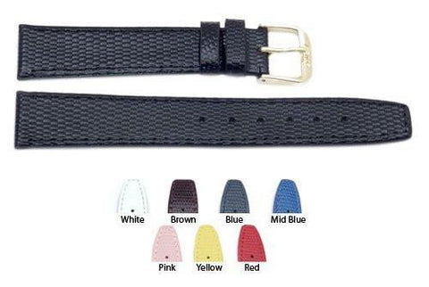 Lizard Grain Genuine Leather Flat Watch Band