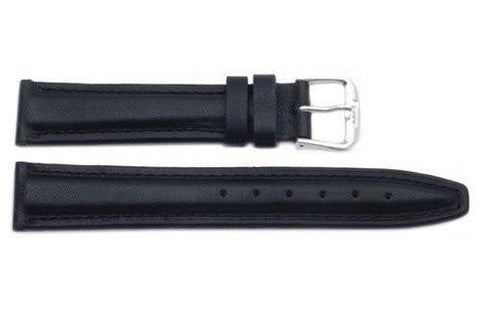 Smooth Black Tapered Genuine Leather Watch Band