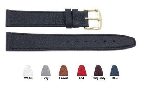 Classic Buffalo Leather Flat Watch Strap With Stitching