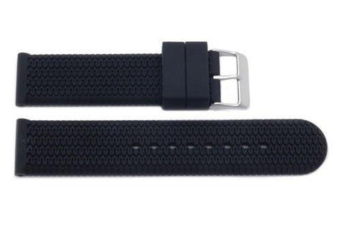 Black Sport Silicone Wave Style Watch Strap
