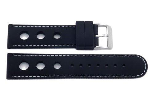 Black Silicone Three Holes Watch Band