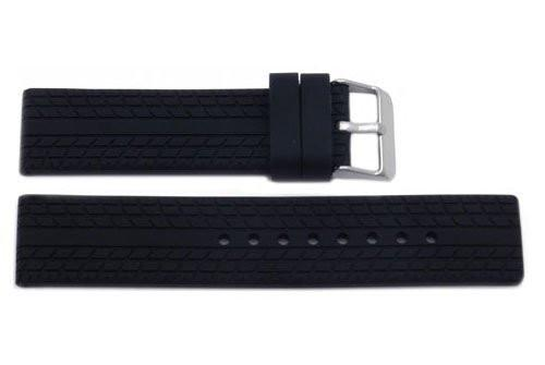 Black Textured Silicone Tire Track Style Watch Band