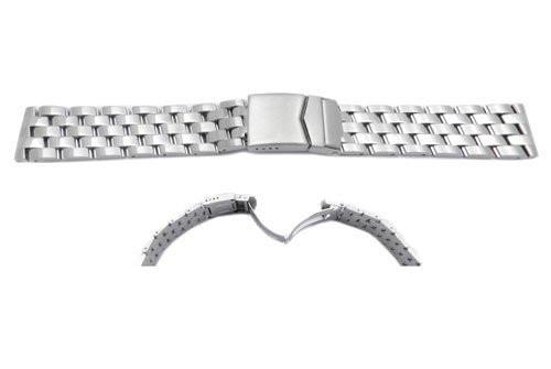Hadley Roma Breitling Pilot Style Stainless Steel Solid Link Watch Bracelet - Curved End