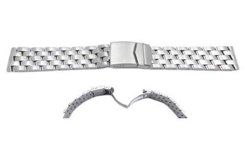 Hadley Roma Breitling Pilot Style Stainless Steel Solid Link Watch Bracelet - Straight End