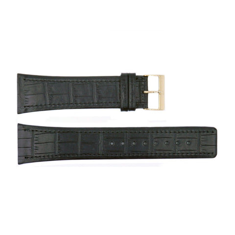 Genuine Skagen Black Crocodile Grain 26mm Leather Watch Strap - Screws