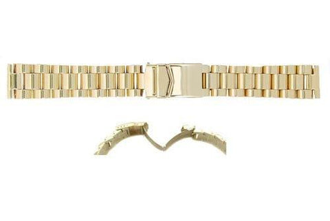 Hadley Roma Gold Tone Solid Link Design Watch Strap