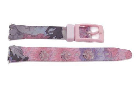 Soft PVC Swatch Style Floral Design Watch Band
