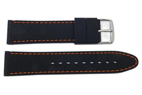Silicone Stitched Textured B-RB108 Watch Band