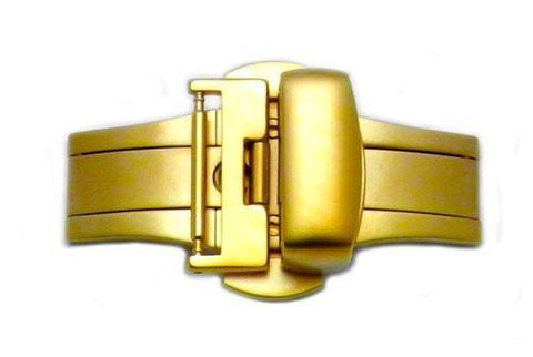 Hadley Roma Brushed Gold Tone Butterfly Push Button Deployant Clasp