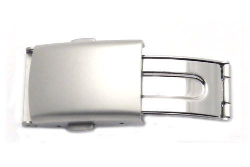 Hadley Roma Brushed Stainless Steel Push Button Fold Over Buckle