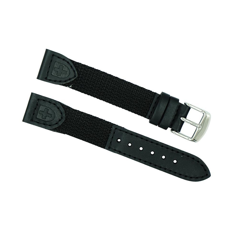 19mm Long Black Leather/Nylon Sport Watch Strap