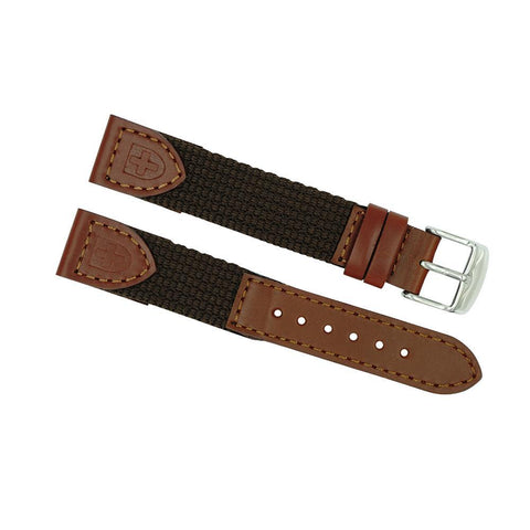 19mm Long Brown Leather/Nylon Sport Watch Strap