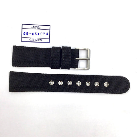 Genuine Citizen 22mm Black Nylon Watch Band