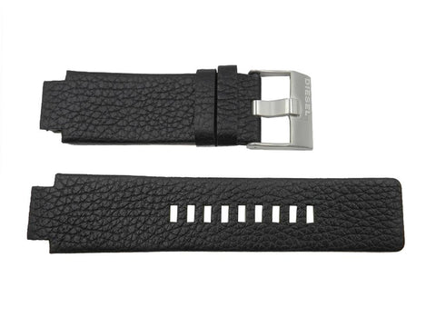 Diesel Black 18mm Textured Leather Integrated Wide Watch Strap