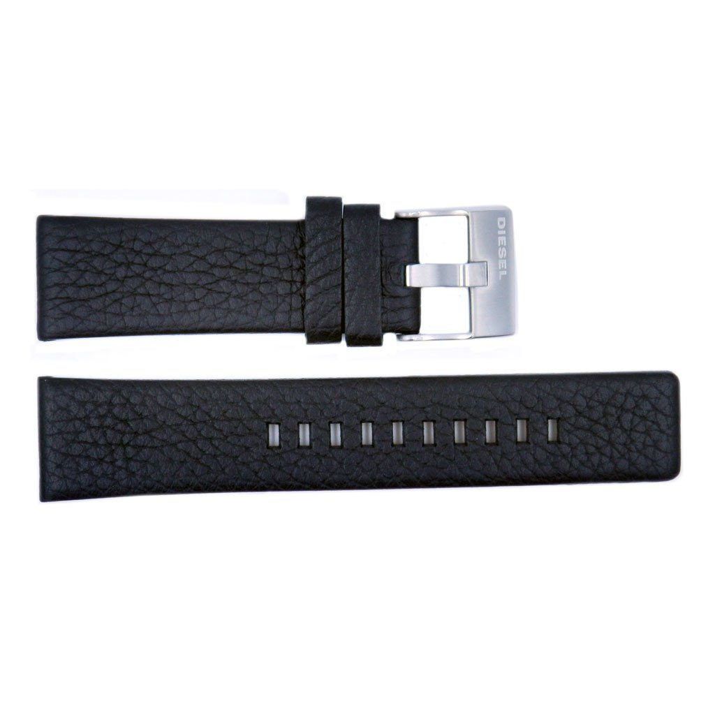 Genuine Diesel Overflow Series Black Textured Leather 24mm Watch Band