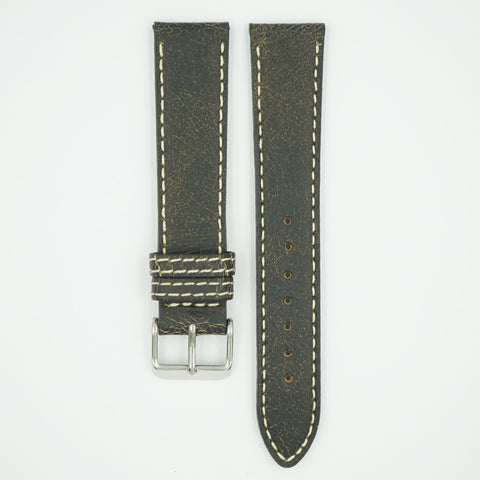 Bomber Black Faded Leather Watch Band