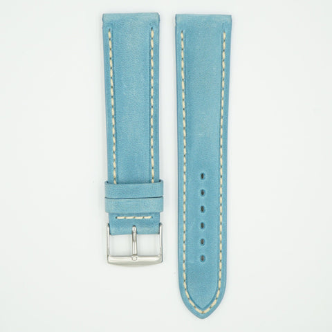 Vintage Turquoise Padded Leather With Ecru Stitch