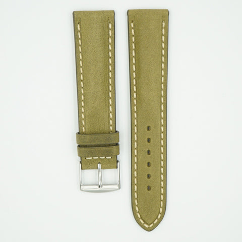 Vintage Sage Padded Leather With Ecru Stitch