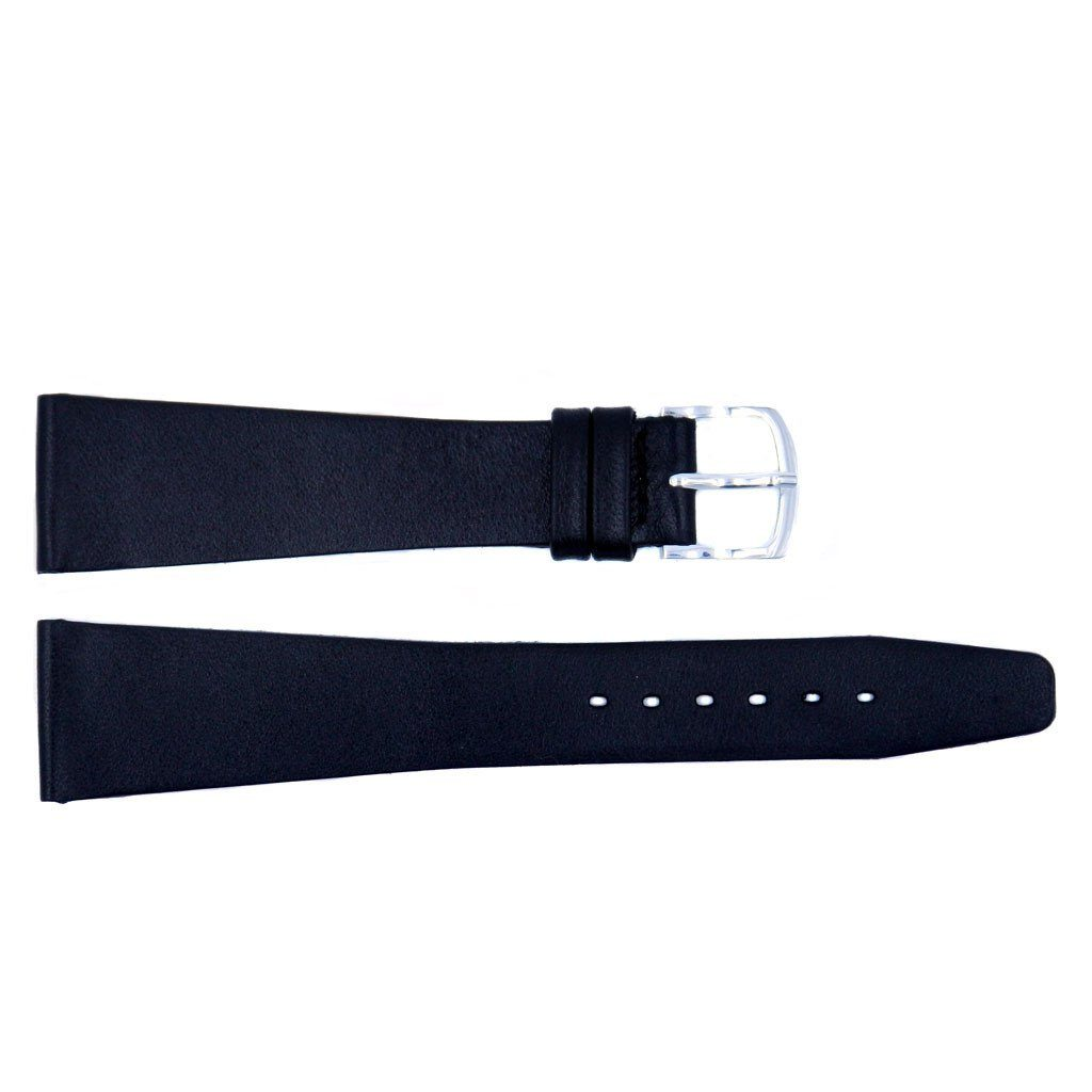 Smooth Edge Classic Genuine Black Leather Long Flat Strap